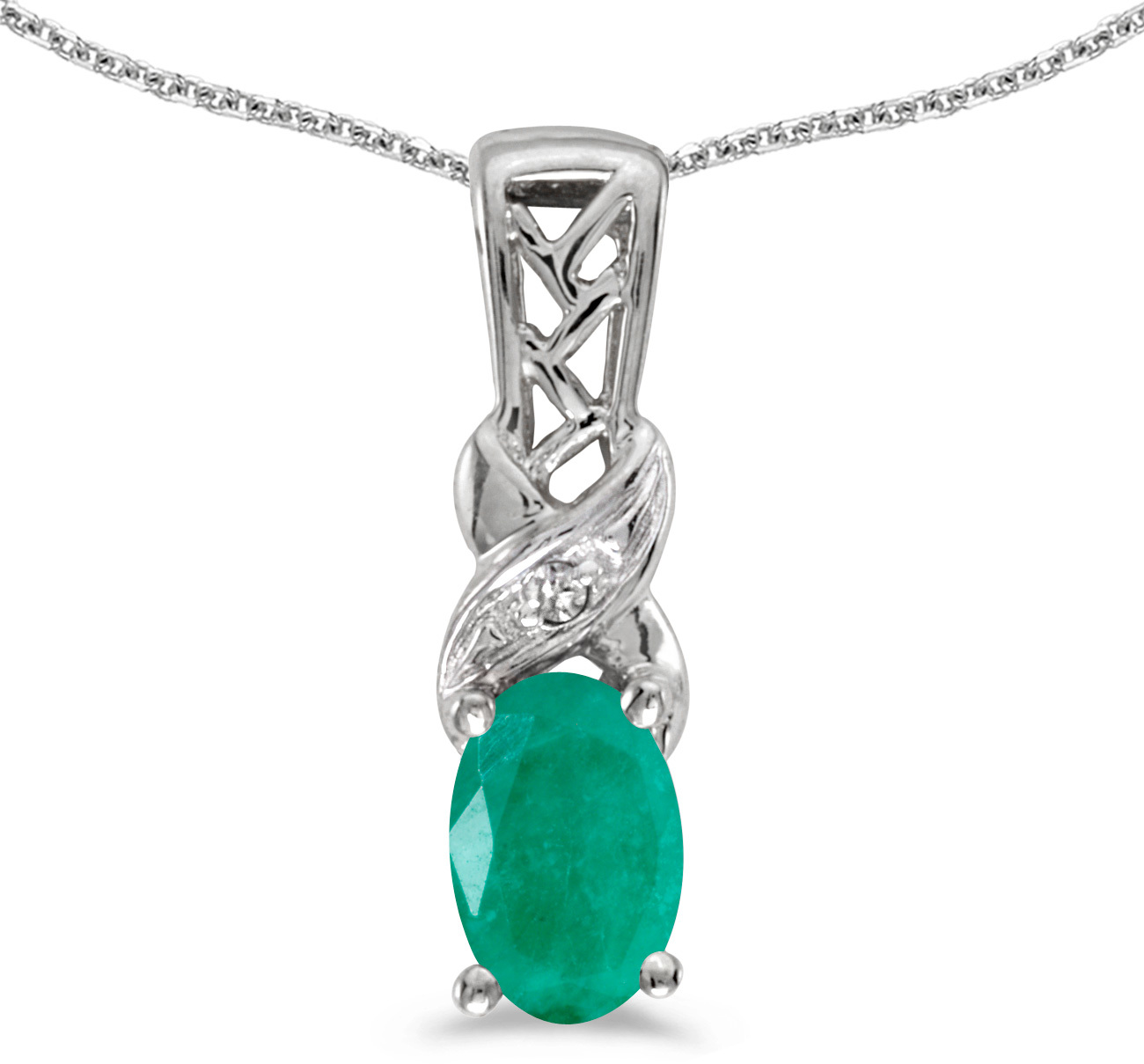 14k White Gold Oval Emerald And Diamond Pendant (Chain NOT included) (CM-P2584XW-05)