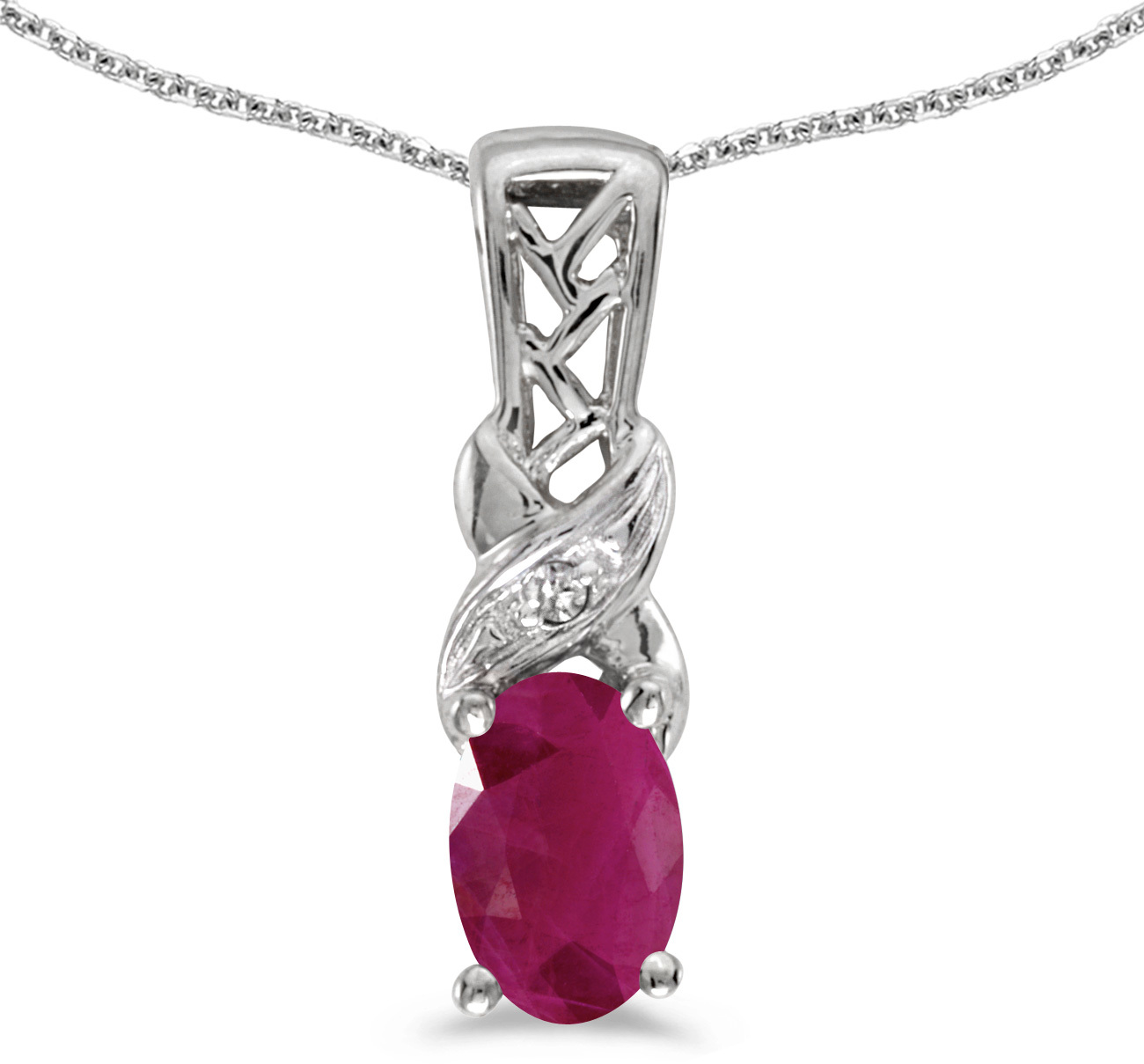 14k White Gold Oval Ruby And Diamond Pendant (Chain NOT included) (CM-P2584XW-07)