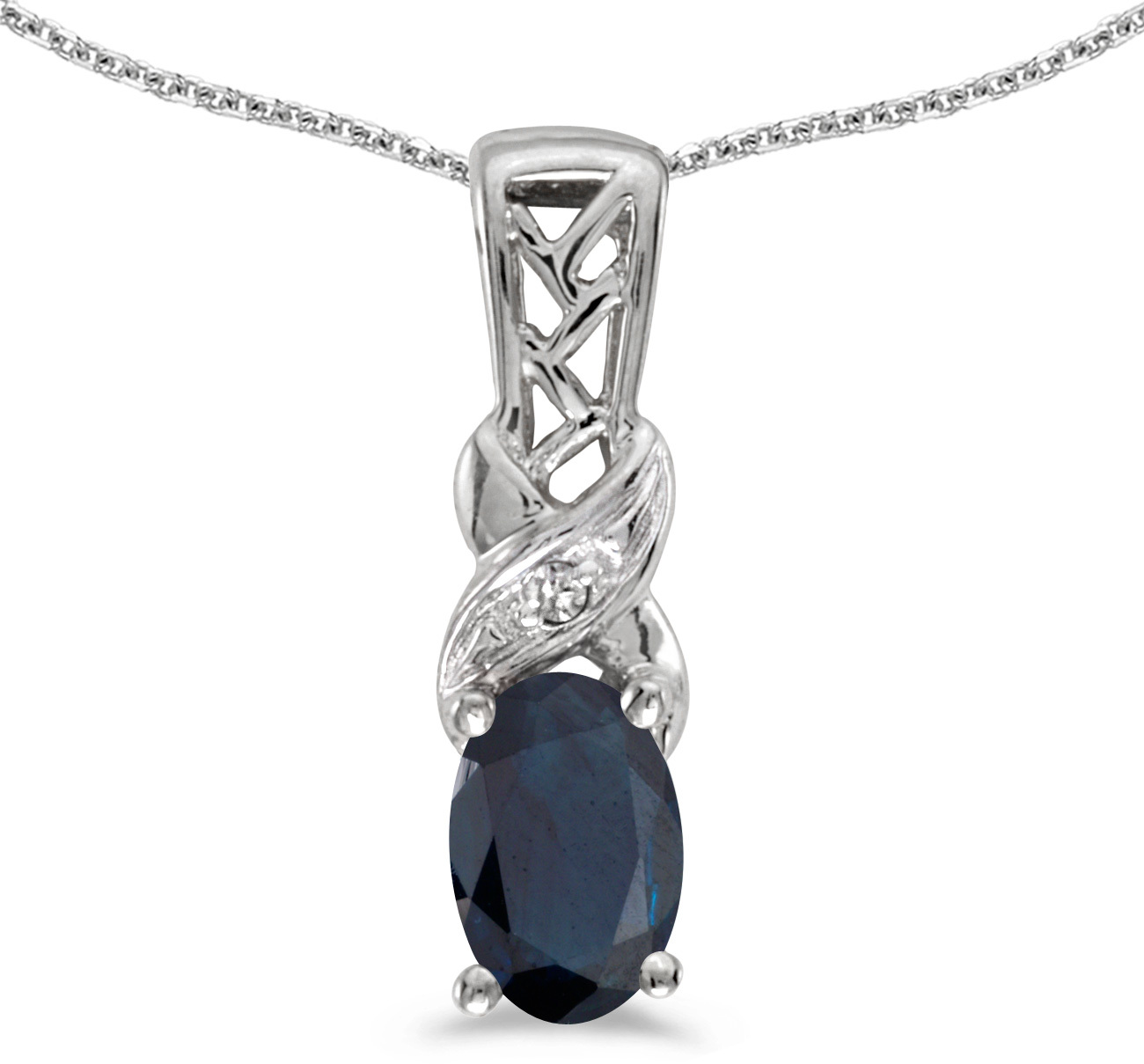 14k White Gold Oval Sapphire And Diamond Pendant (Chain NOT included) (CM-P2584XW-09)