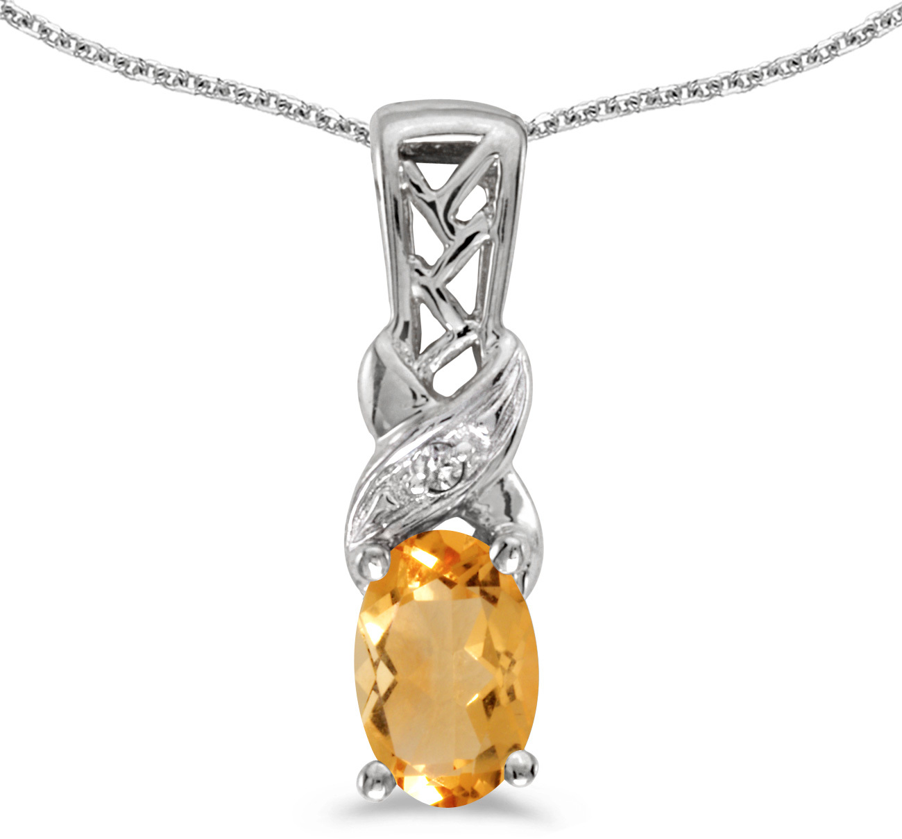 14k White Gold Oval Citrine And Diamond Pendant (Chain NOT included) (CM-P2584XW-11)