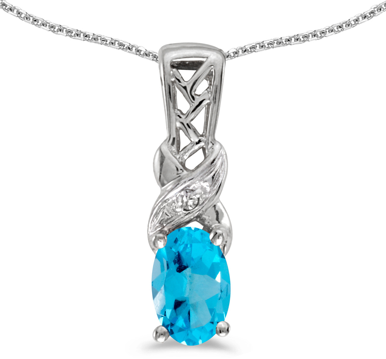 14k White Gold Oval Blue Topaz And Diamond Pendant (Chain NOT included) (CM-P2584XW-12)