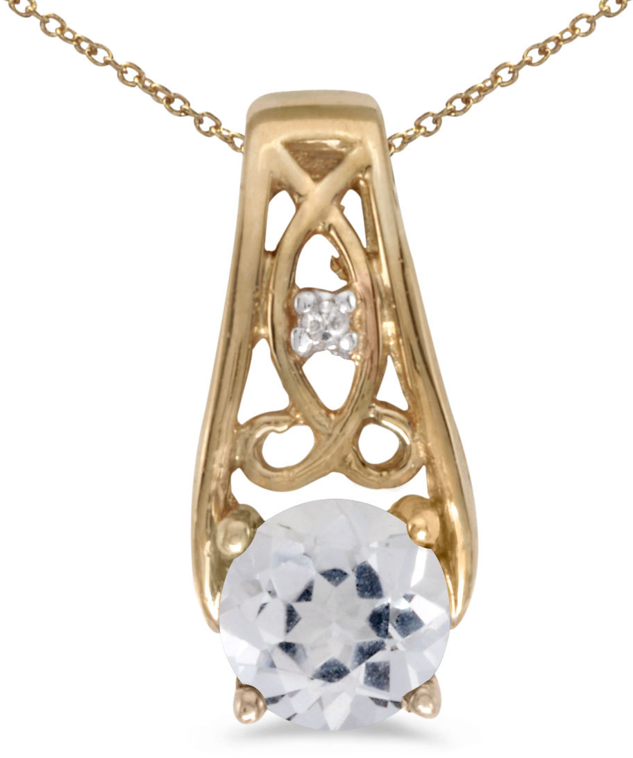 14k Yellow Gold Round White Topaz And Diamond Pendant (Chain NOT included) (CM-P2587X-04)