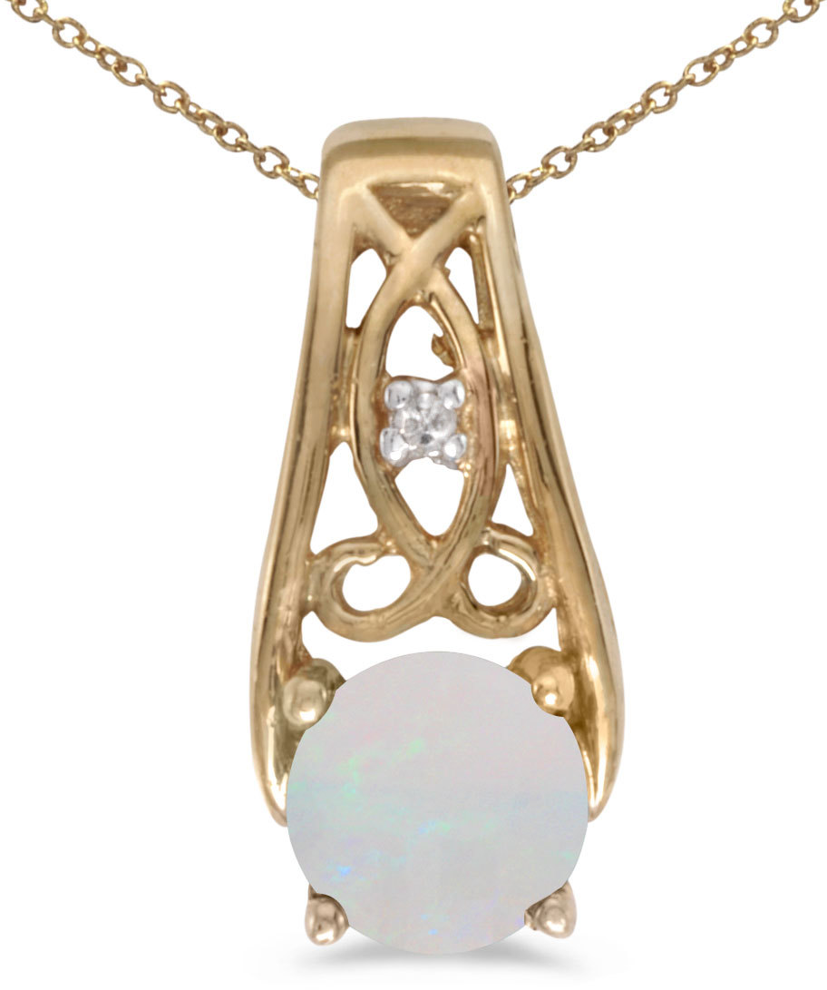 14k Yellow Gold Round Opal And Diamond Pendant (Chain NOT included) (CM-P2587X-10)