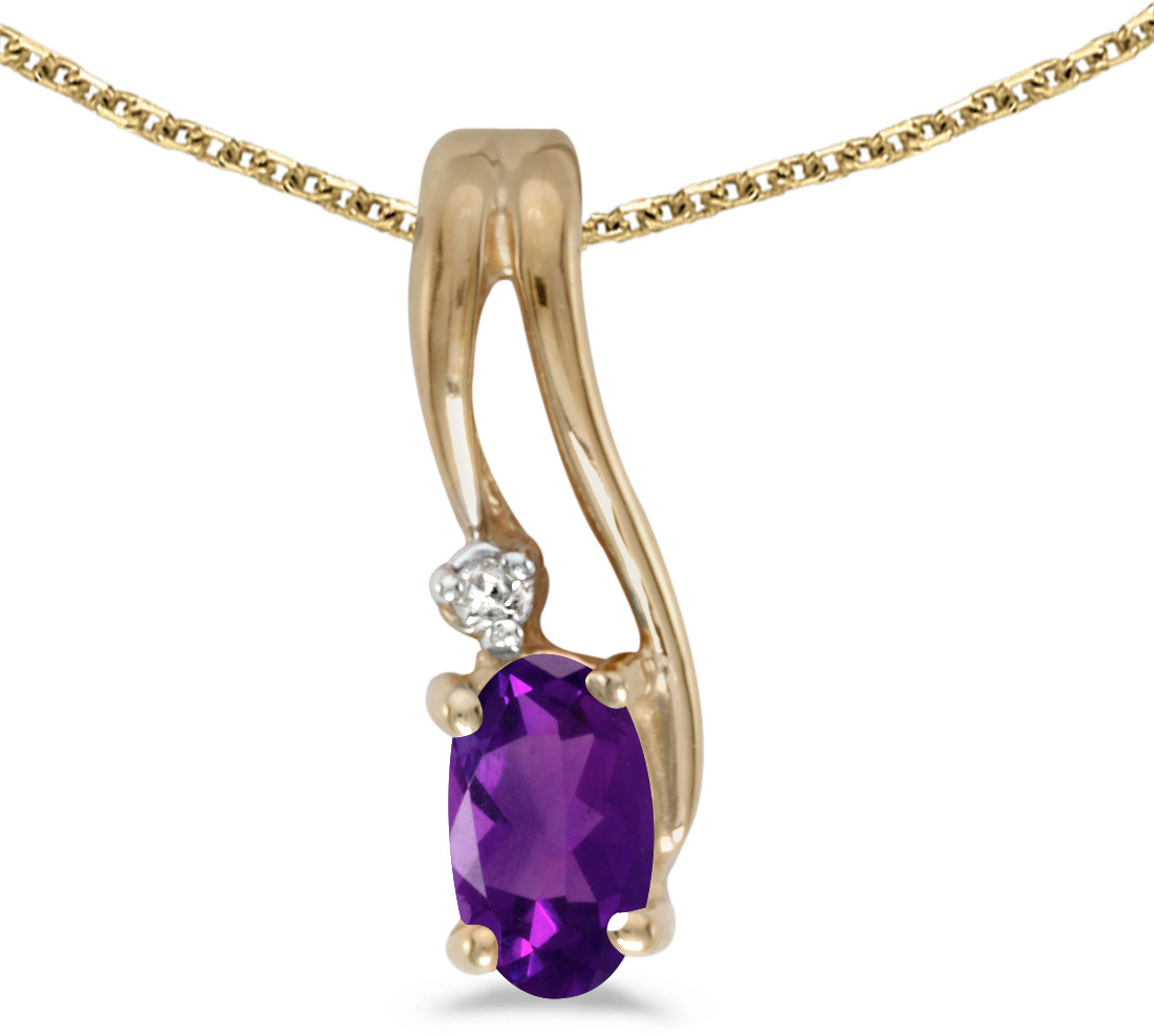 14k Yellow Gold Oval Amethyst And Diamond Wave Pendant (Chain NOT included)