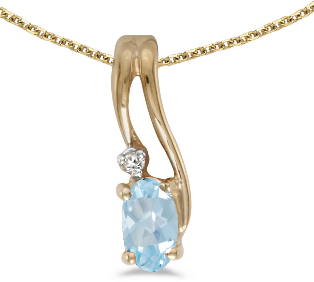 14k Yellow Gold Oval Aquamarine And Diamond Wave Pendant (Chain NOT included)
