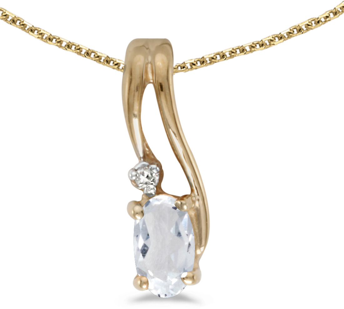 14k Yellow Gold Oval White Topaz And Diamond Wave Pendant (Chain NOT included)