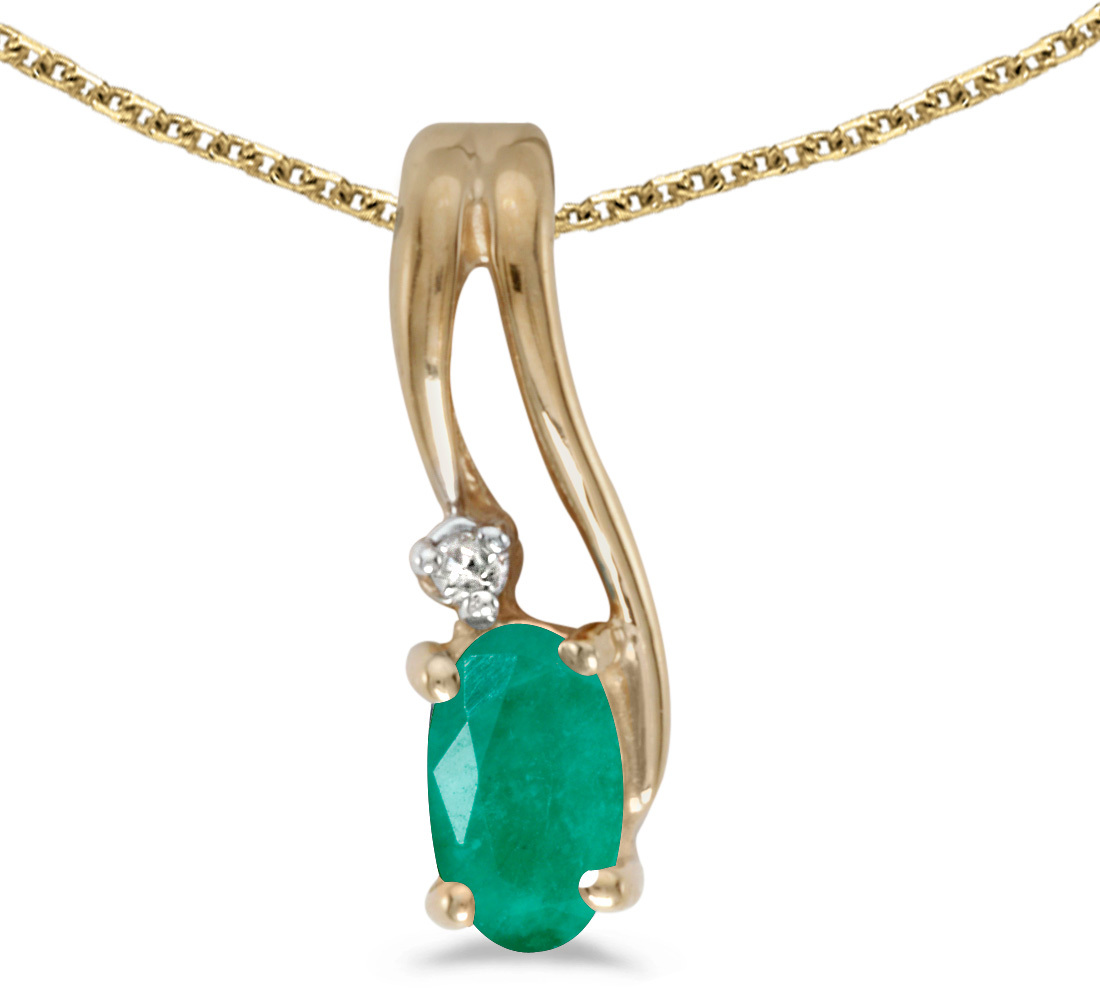 14k Yellow Gold Oval Emerald And Diamond Wave Pendant (Chain NOT included)