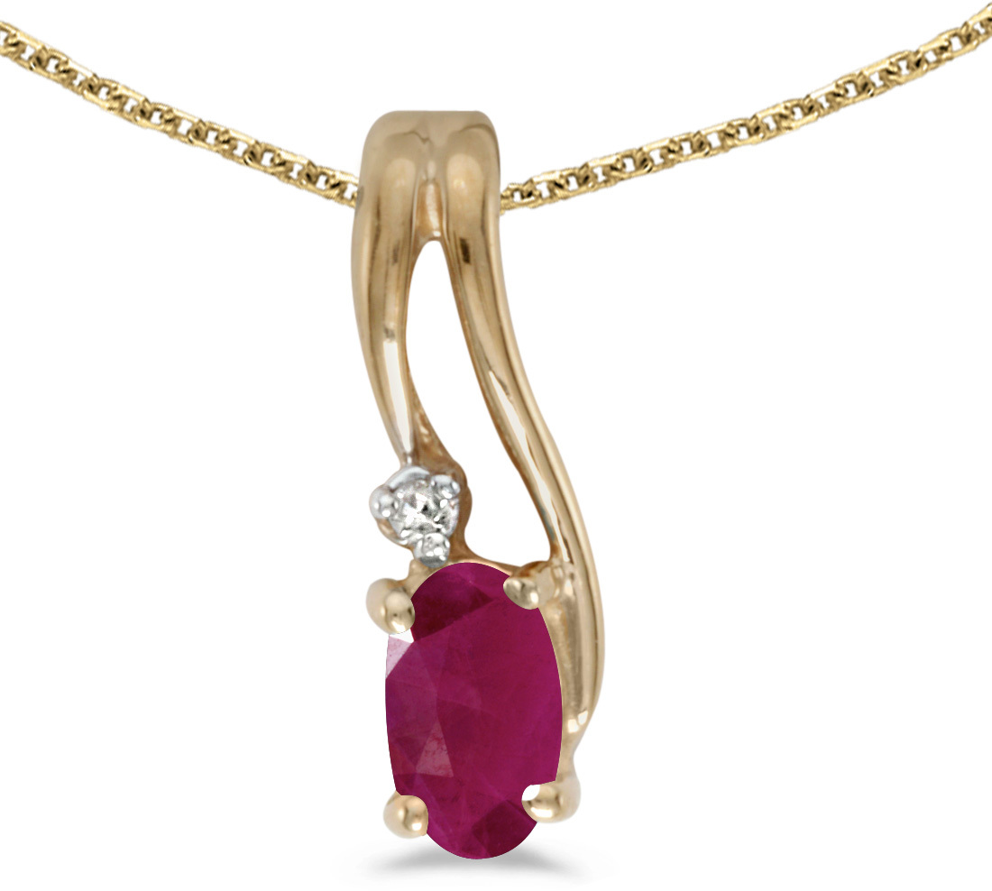 14k Yellow Gold Oval Ruby And Diamond Wave Pendant (Chain NOT included)