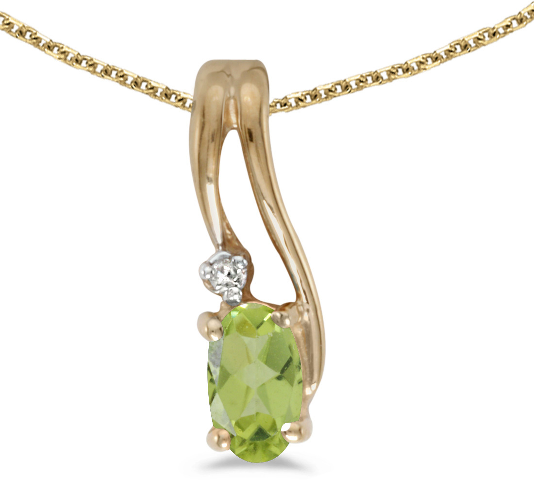 14k Yellow Gold Oval Peridot And Diamond Wave Pendant (Chain NOT included)