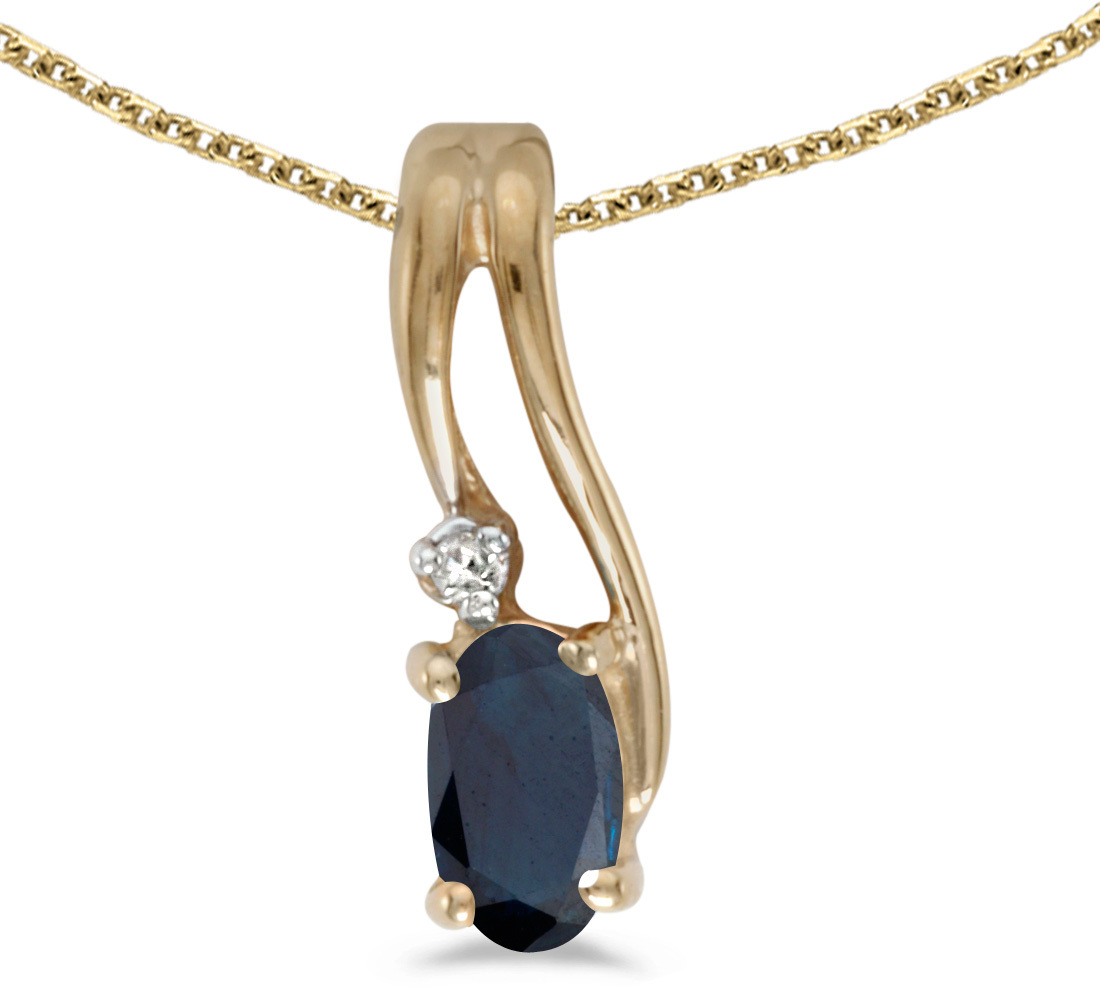 14k Yellow Gold Oval Sapphire And Diamond Wave Pendant (Chain NOT included)