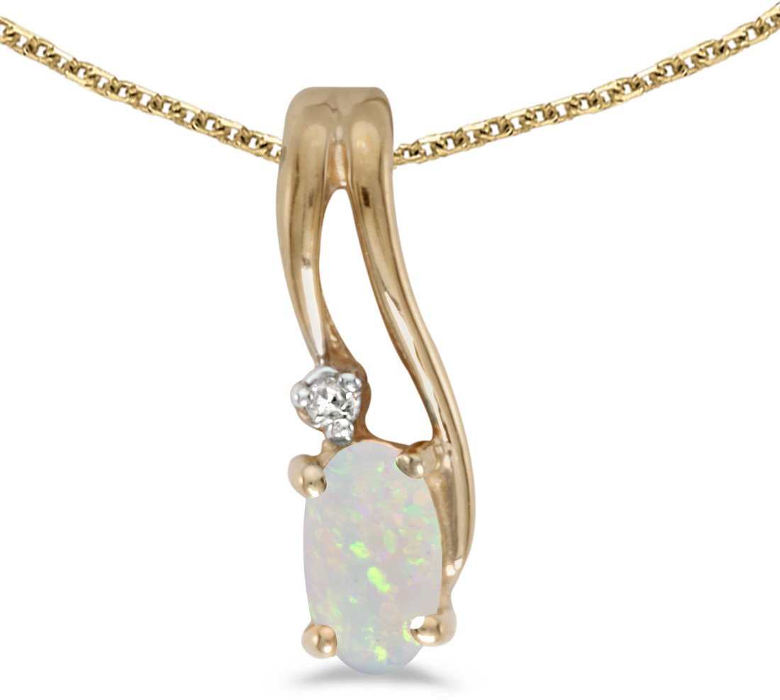 14k Yellow Gold Oval Opal And Diamond Wave Pendant (Chain NOT included)