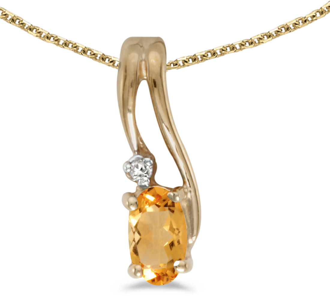 14k Yellow Gold Oval Citrine And Diamond Wave Pendant (Chain NOT included)