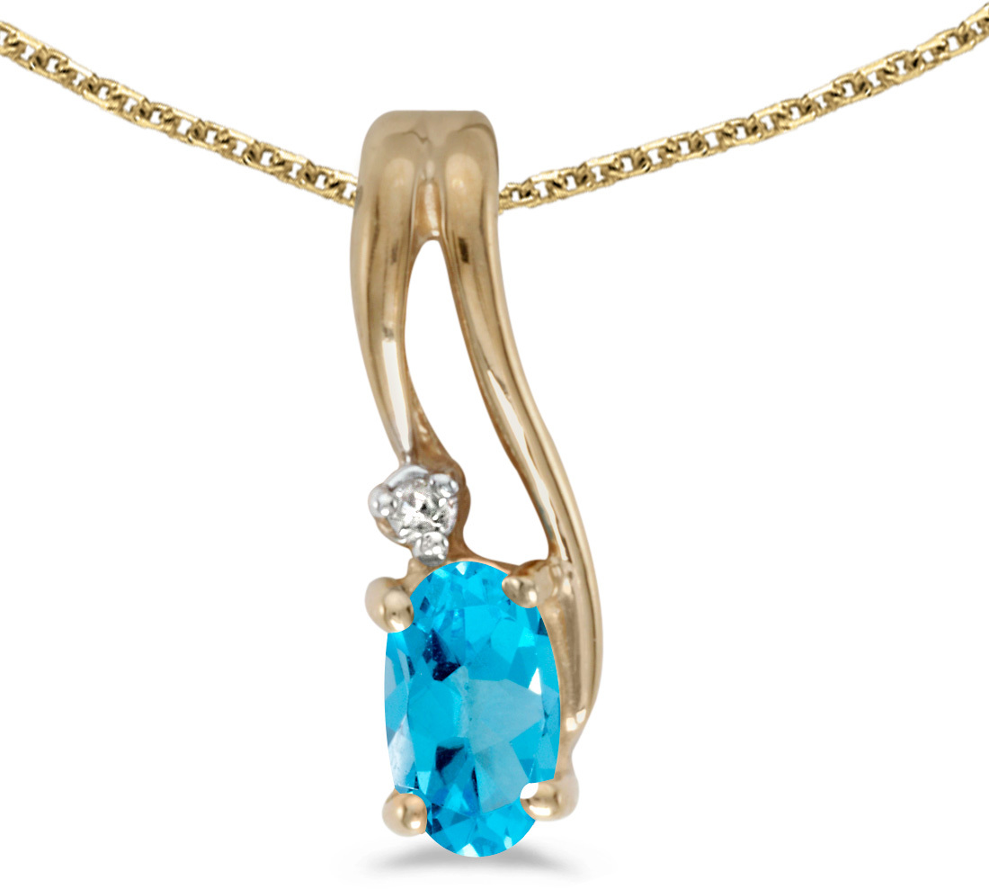 14k Yellow Gold Oval Blue Topaz And Diamond Wave Pendant (Chain NOT included)
