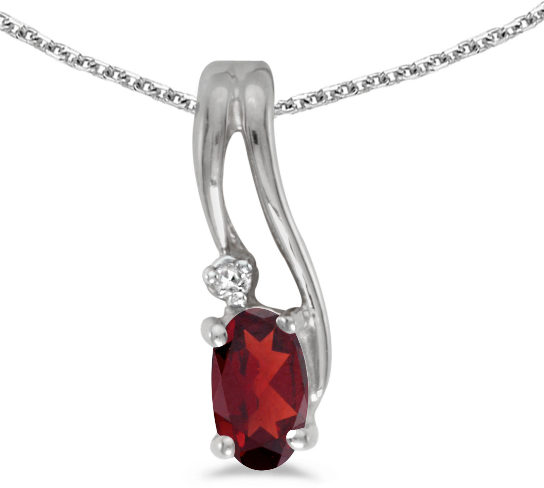 14k White Gold Oval Garnet And Diamond Wave Pendant (Chain NOT included)