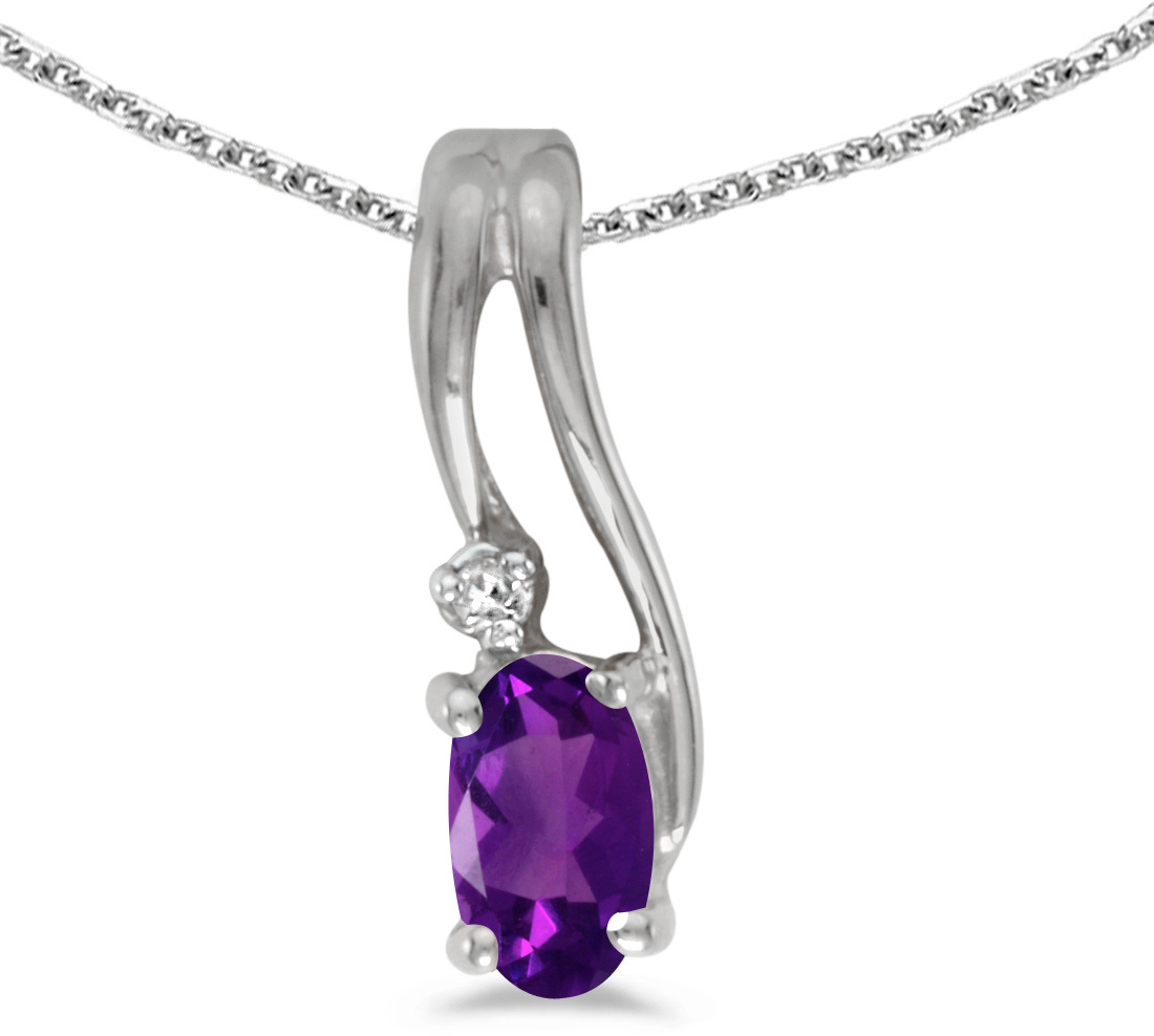 14k White Gold Oval Amethyst And Diamond Wave Pendant (Chain NOT included)