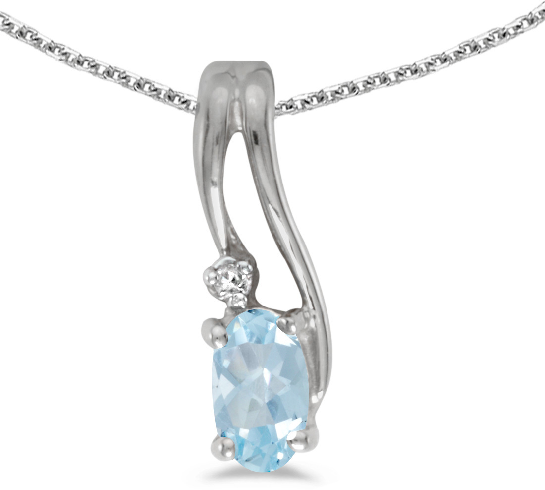 14k White Gold Oval Aquamarine And Diamond Wave Pendant (Chain NOT included)