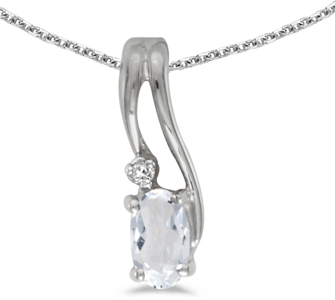 14k White Gold Oval White Topaz And Diamond Wave Pendant (Chain NOT included)