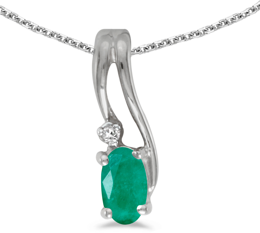 14k White Gold Oval Emerald And Diamond Wave Pendant (Chain NOT included)