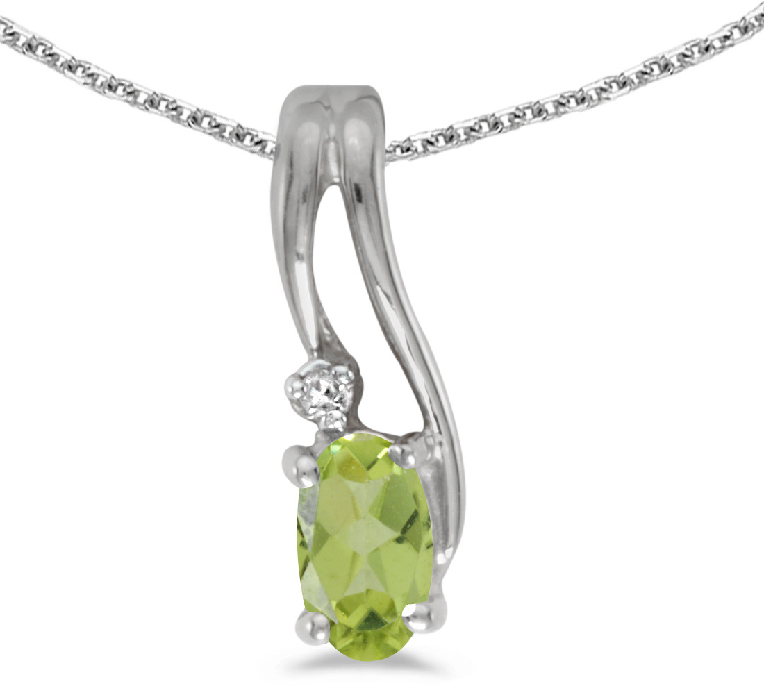 14k White Gold Oval Peridot And Diamond Wave Pendant (Chain NOT included)