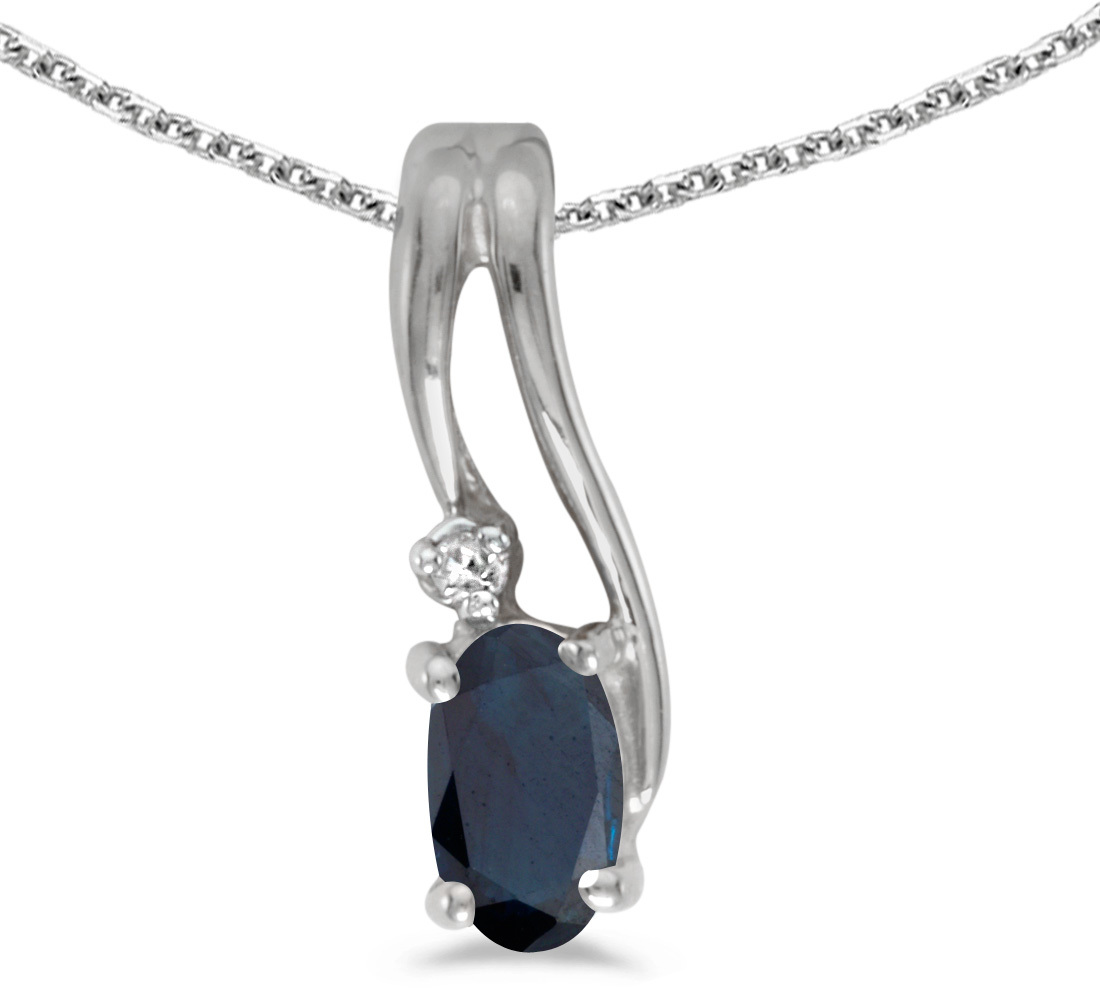 14k White Gold Oval Sapphire And Diamond Wave Pendant (Chain NOT included)