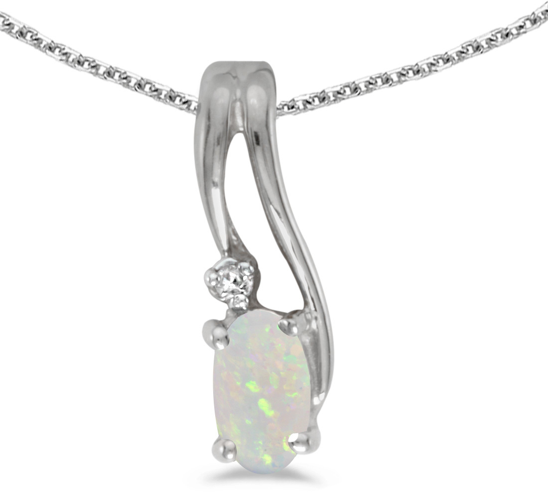 14k White Gold Oval Opal And Diamond Wave Pendant (Chain NOT included)
