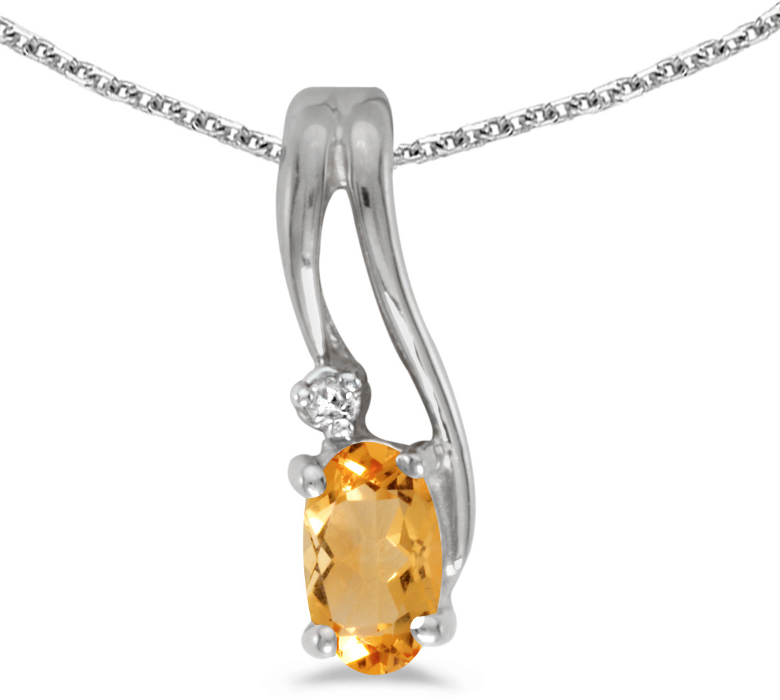 14k White Gold Oval Citrine And Diamond Wave Pendant (Chain NOT included)