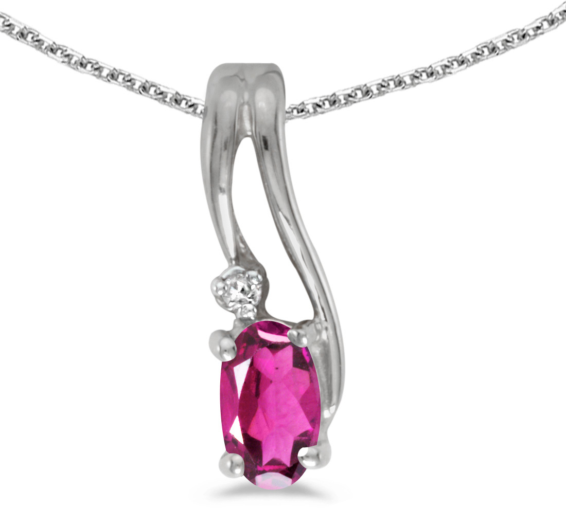 14k White Gold Oval Pink Topaz And Diamond Wave Pendant (Chain NOT included)
