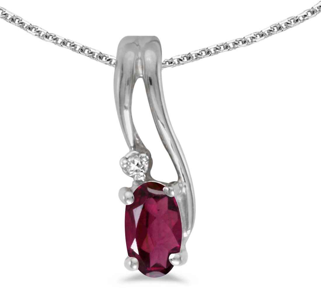 14k White Gold Oval Rhodolite Garnet And Diamond Wave Pendant (Chain NOT included)