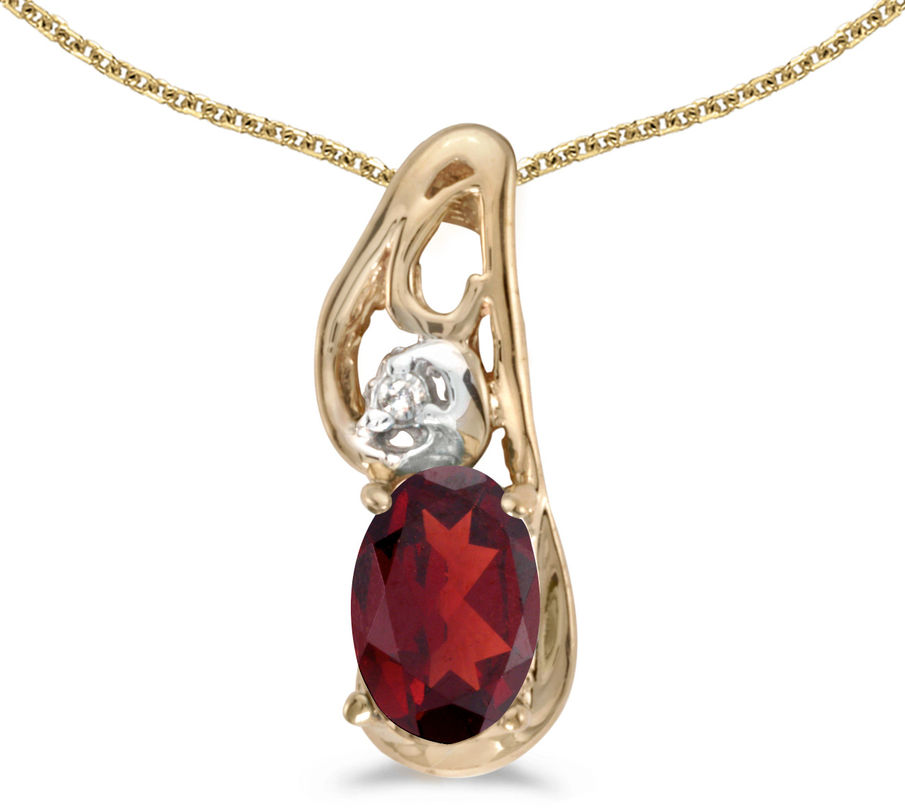 14k Yellow Gold Oval Garnet And Diamond Pendant (Chain NOT included) (CM-P2590X-01)
