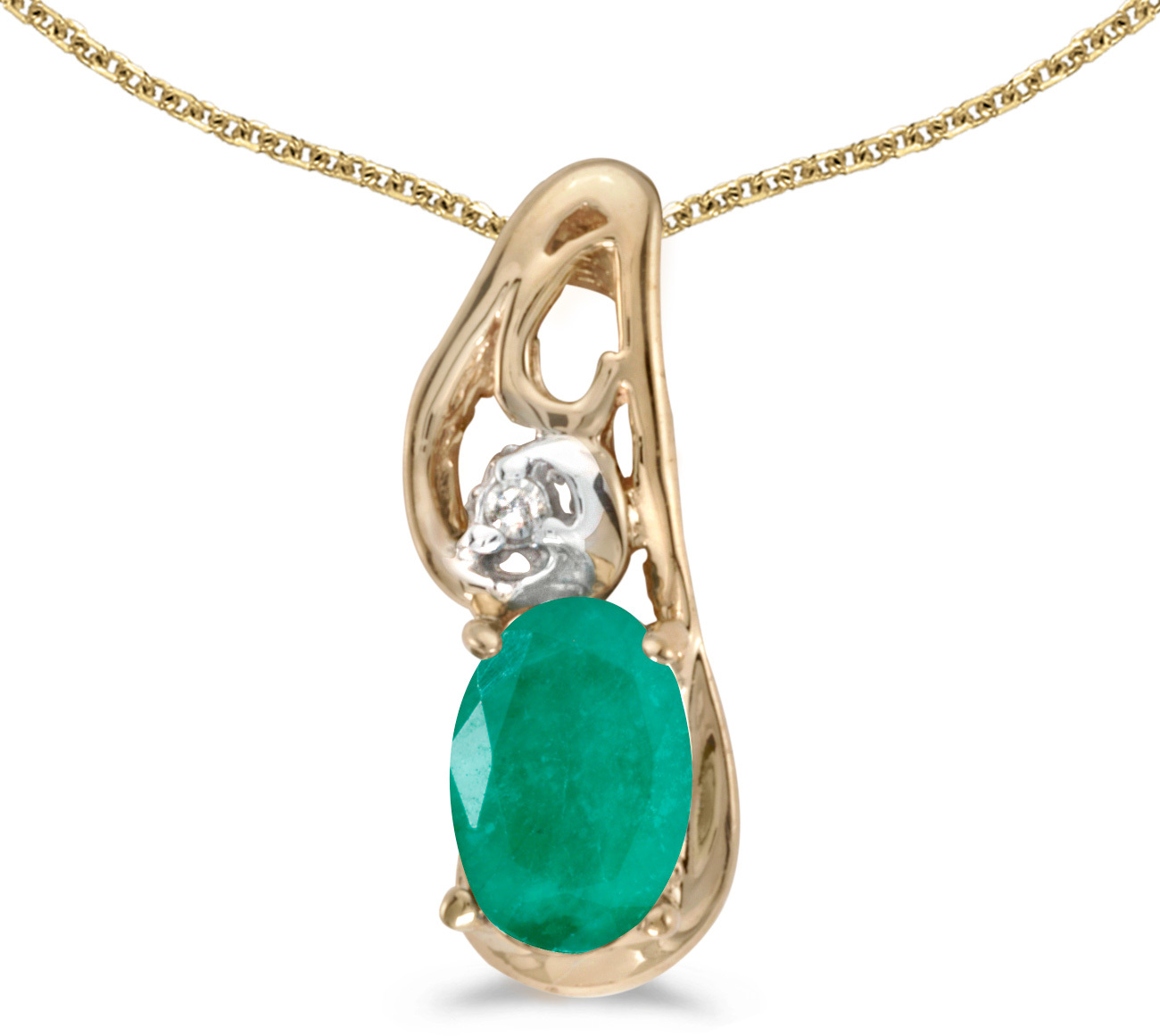 14k Yellow Gold Oval Emerald And Diamond Pendant (Chain NOT included) (CM-P2590X-05)