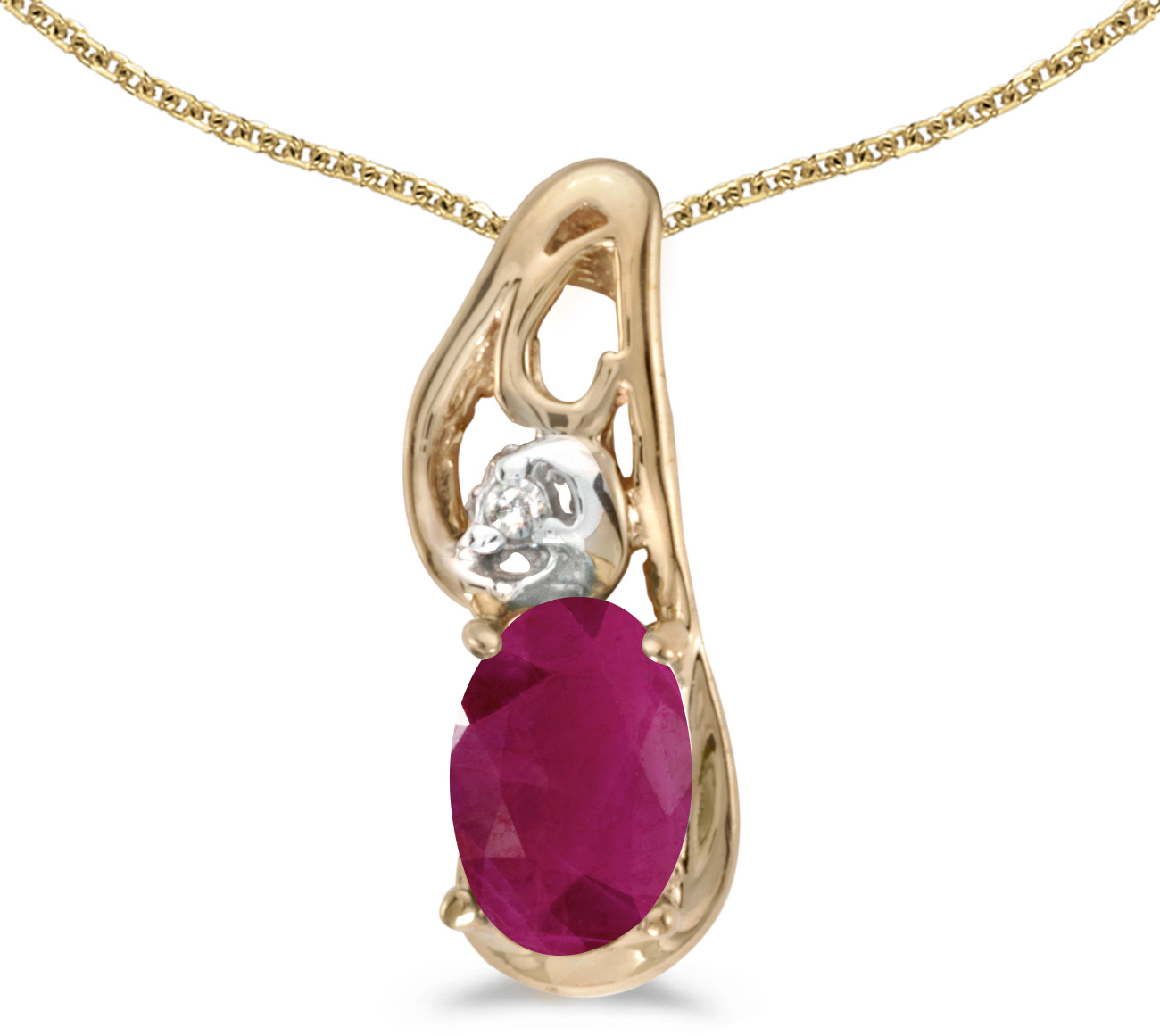 14k Yellow Gold Oval Ruby And Diamond Pendant (Chain NOT included) (CM-P2590X-07)