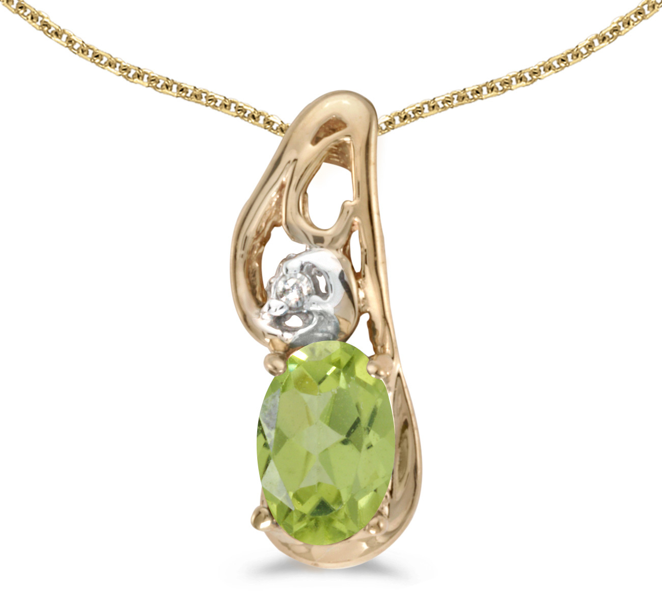 14k Yellow Gold Oval Peridot And Diamond Pendant (Chain NOT included) (CM-P2590X-08)