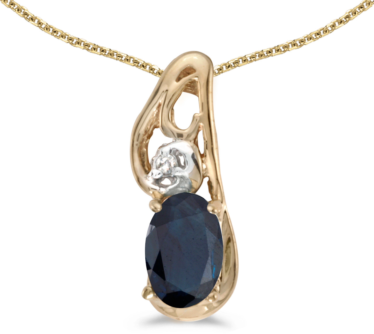 14k Yellow Gold Oval Sapphire And Diamond Pendant (Chain NOT included) (CM-P2590X-09)