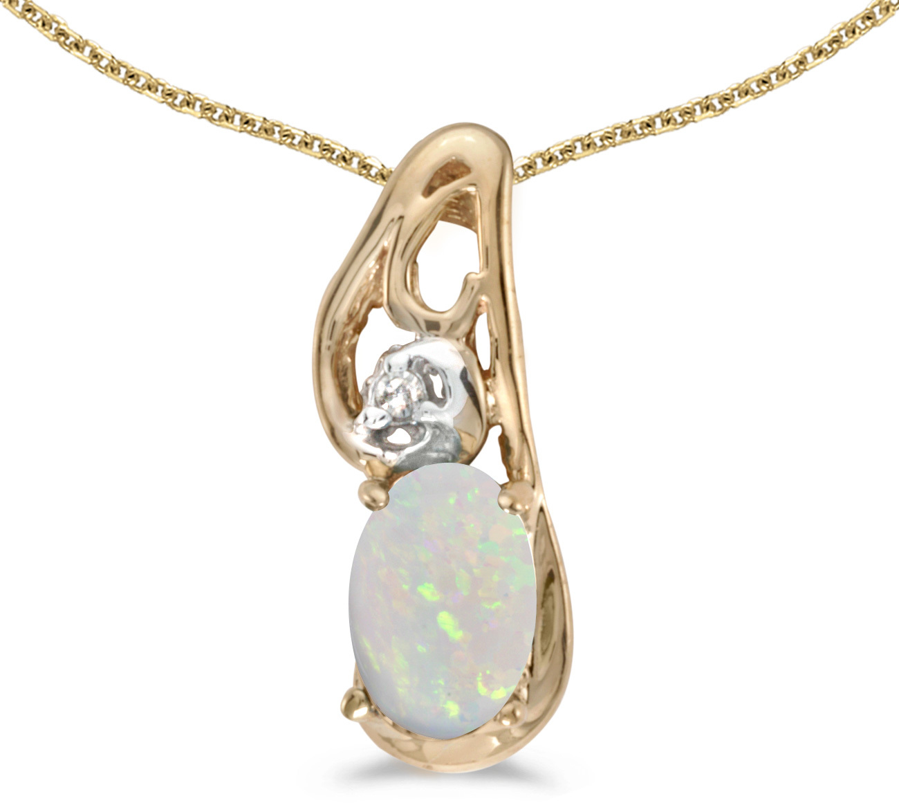 14k Yellow Gold Oval Opal And Diamond Pendant (Chain NOT included) (CM-P2590X-10)