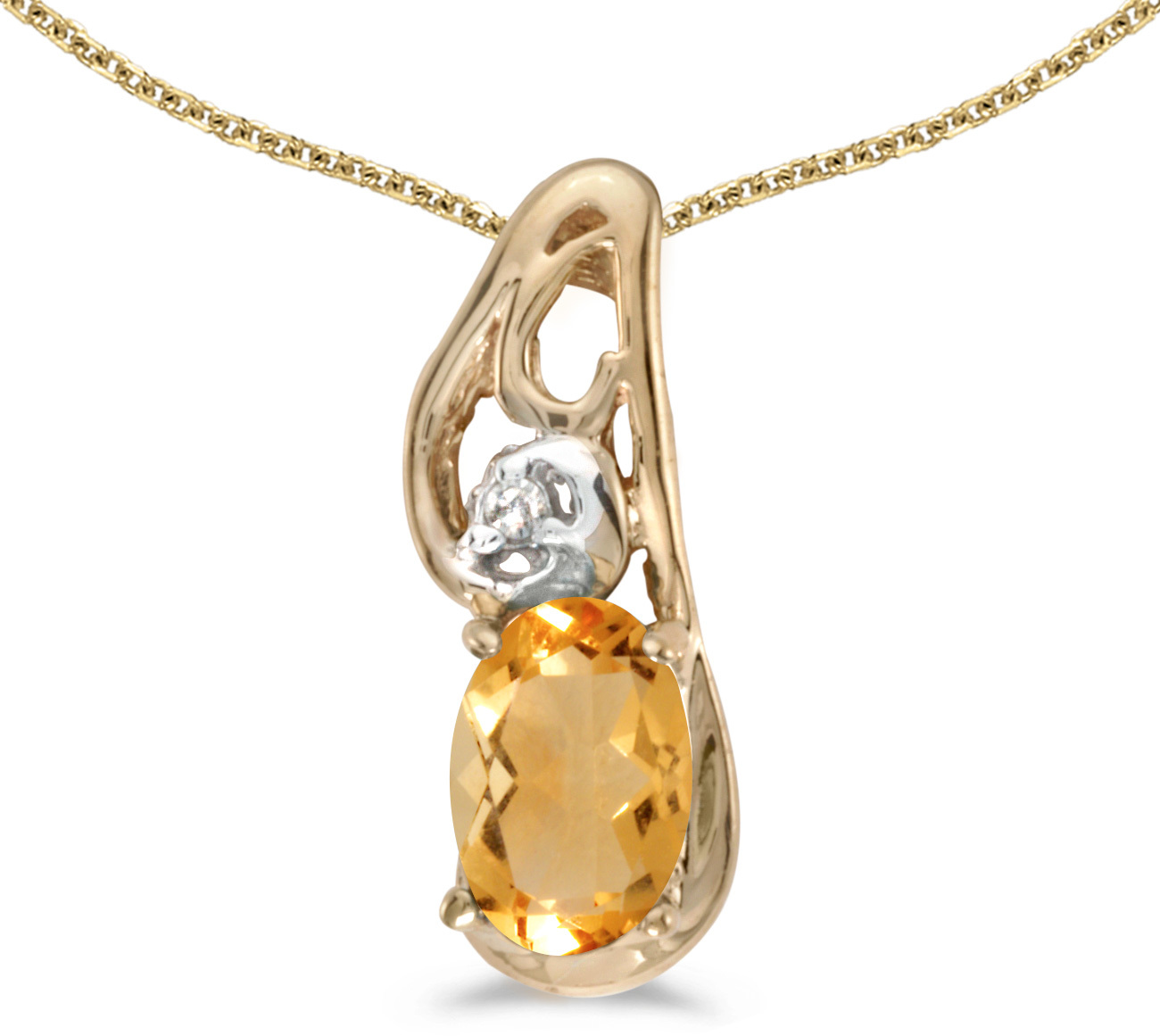 14k Yellow Gold Oval Citrine And Diamond Pendant (Chain NOT included) (CM-P2590X-11)