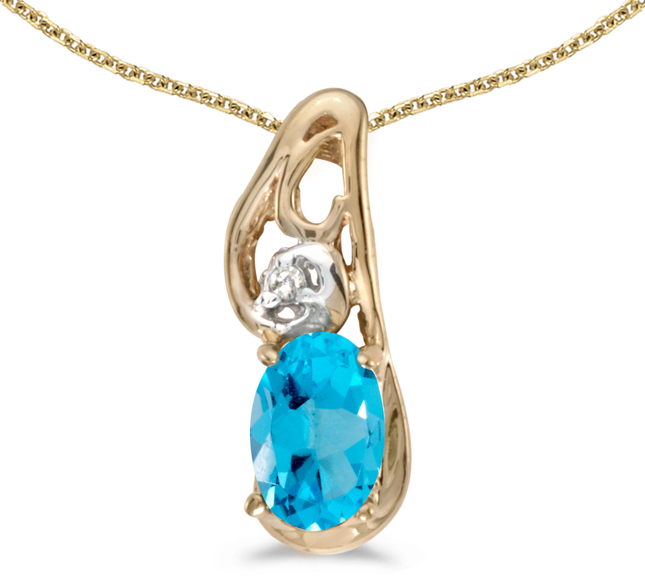 14k Yellow Gold Oval Blue Topaz And Diamond Pendant (Chain NOT included) (CM-P2590X-12)