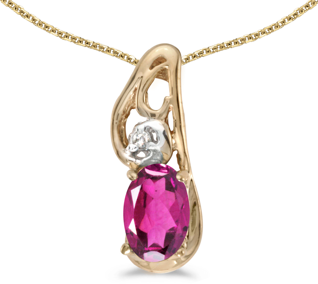 14k Yellow Gold Oval Pink Topaz And Diamond Pendant (Chain NOT included) (CM-P2590X-PT)
