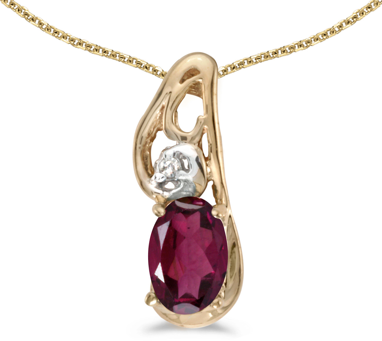 14k Yellow Gold Oval Rhodolite Garnet And Diamond Pendant (Chain NOT included) (CM-P2590X-RG)