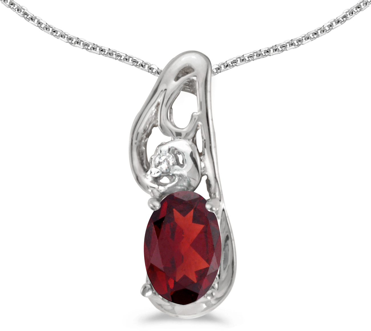 14k White Gold Oval Garnet And Diamond Pendant (Chain NOT included) (CM-P2590XW-01)