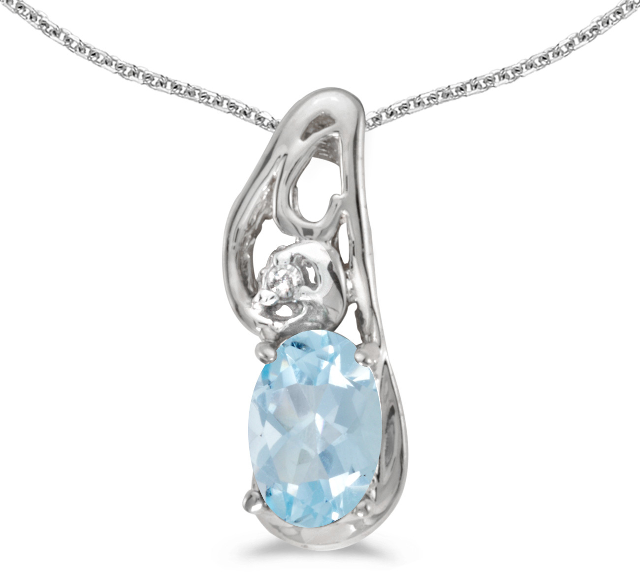 14k White Gold Oval Aquamarine And Diamond Pendant (Chain NOT included) (CM-P2590XW-03)