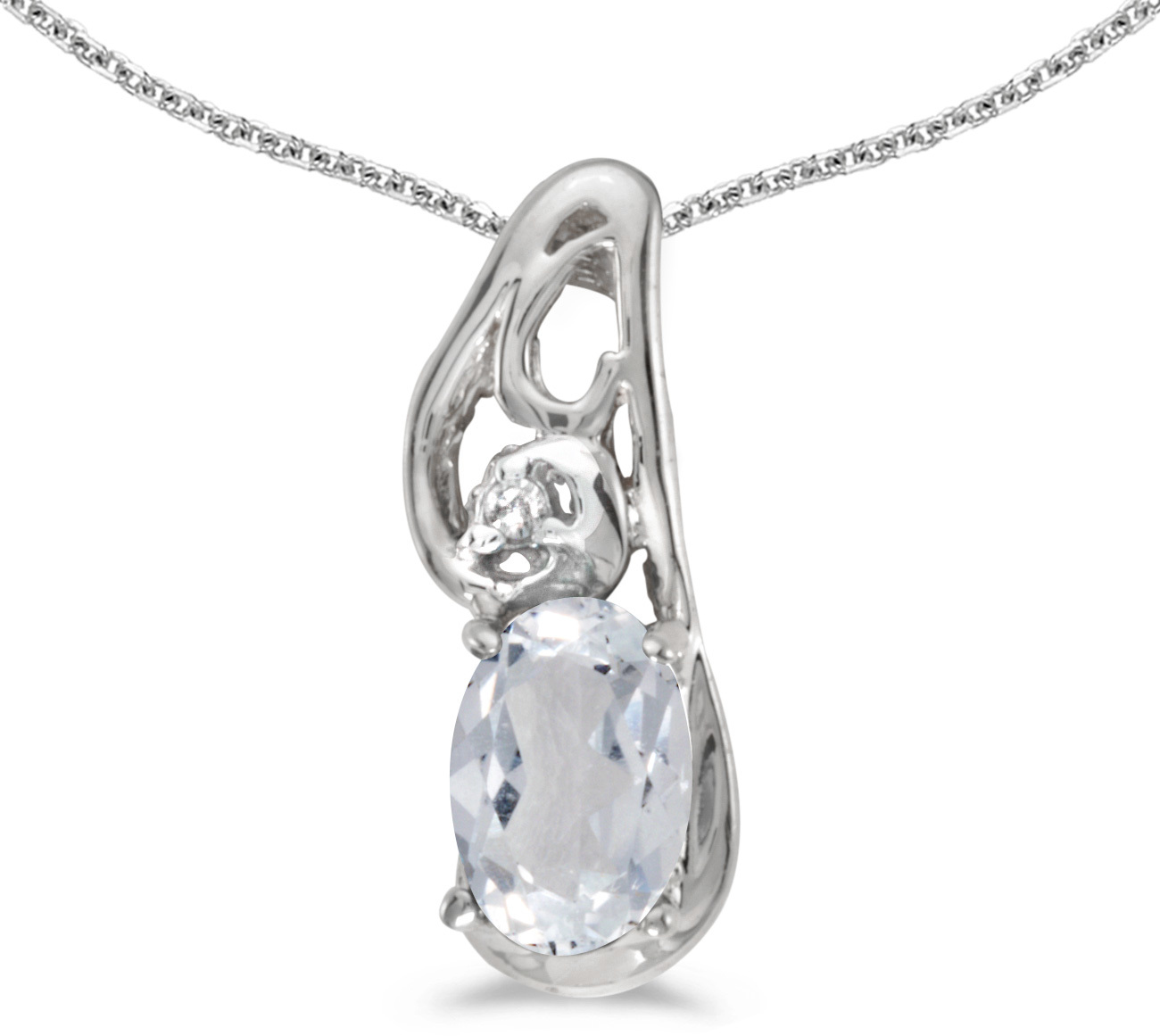 14k White Gold Oval White Topaz And Diamond Pendant (Chain NOT included) (CM-P2590XW-04)
