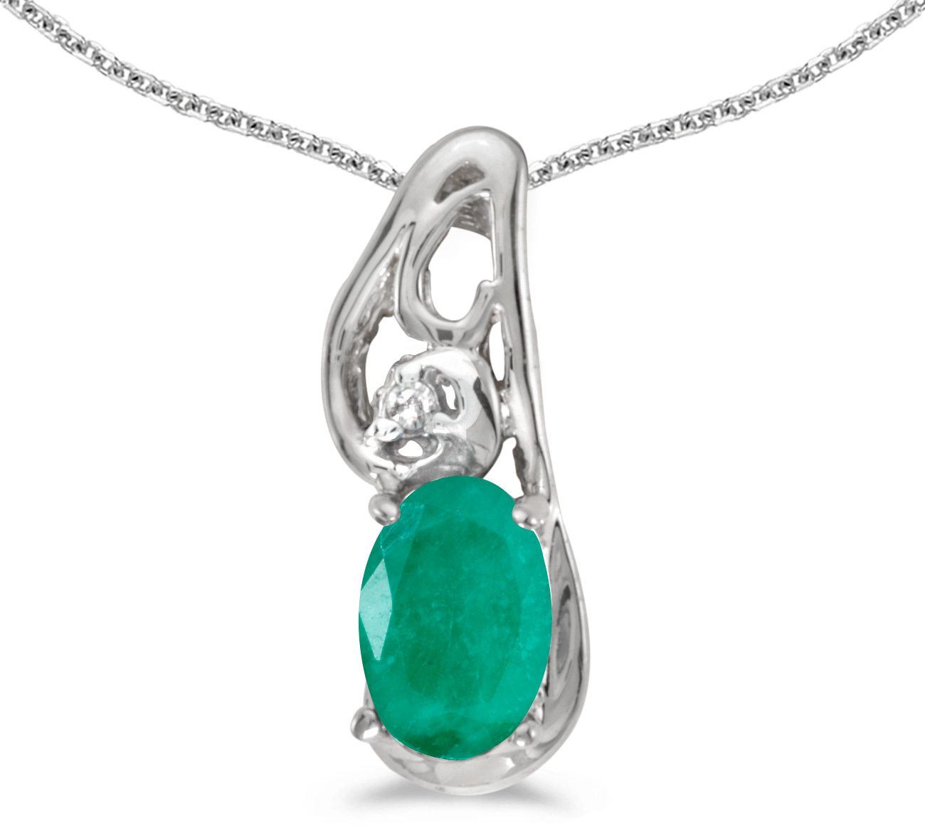 14k White Gold Oval Emerald And Diamond Pendant (Chain NOT included) (CM-P2590XW-05)