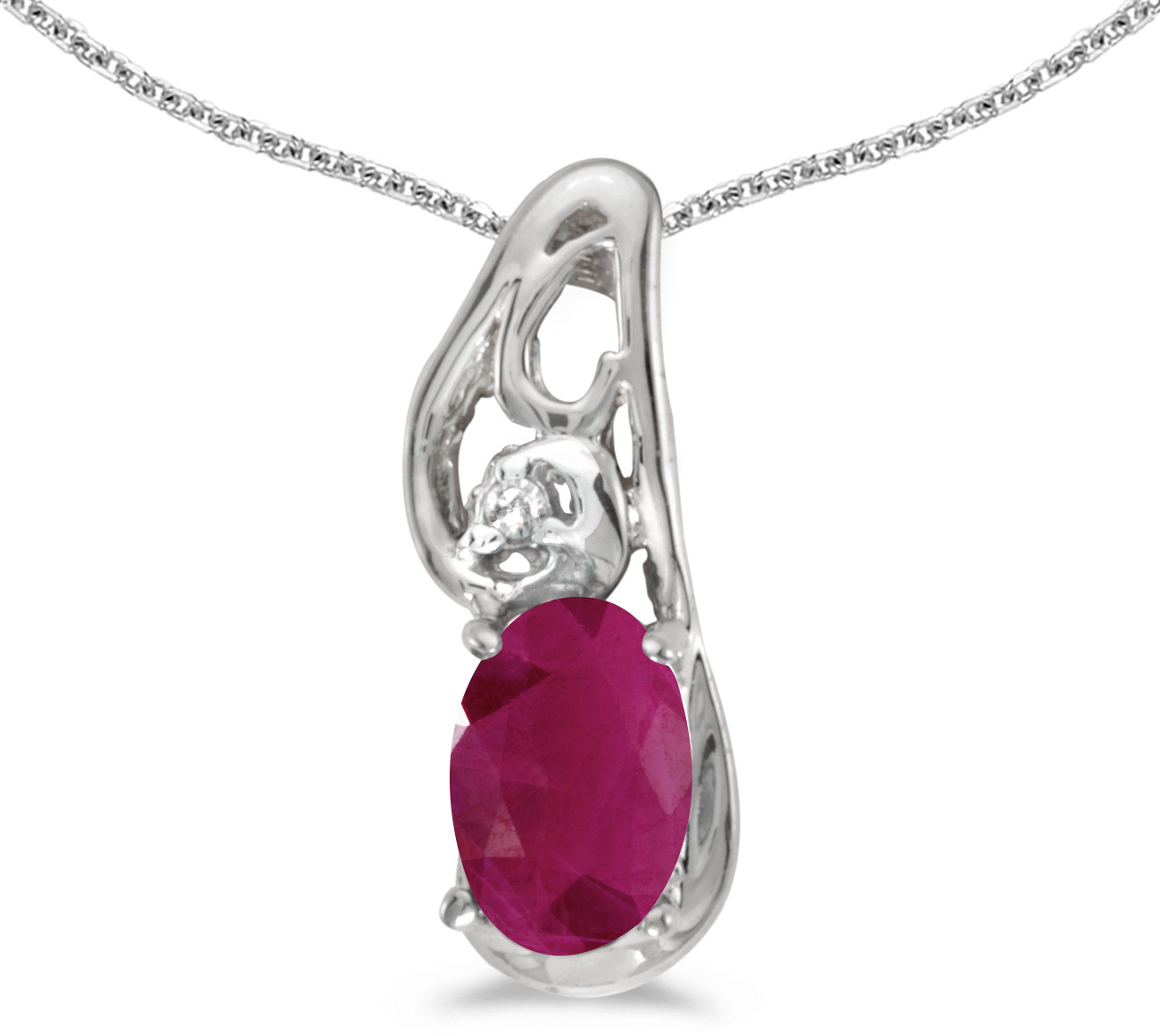 14k White Gold Oval Ruby And Diamond Pendant (Chain NOT included) (CM-P2590XW-07)