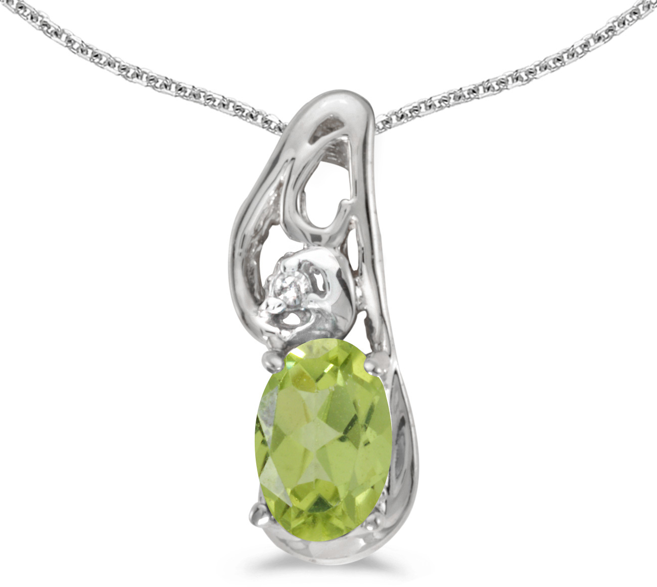 14k White Gold Oval Peridot And Diamond Pendant (Chain NOT included) (CM-P2590XW-08)