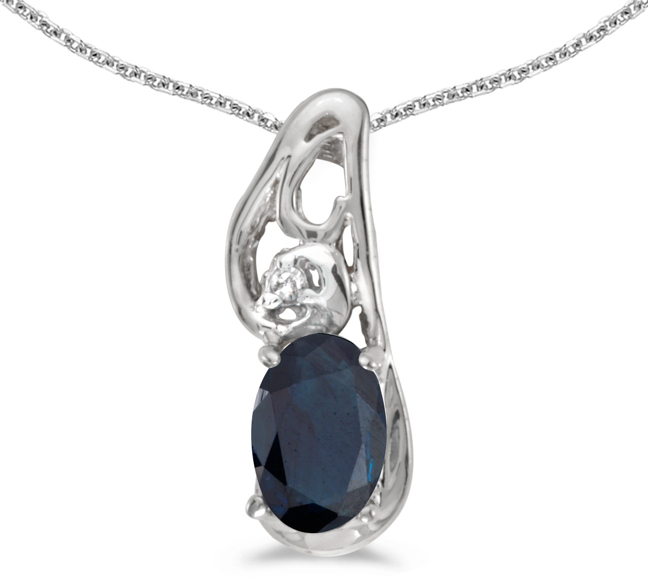 14k White Gold Oval Sapphire And Diamond Pendant (Chain NOT included) (CM-P2590XW-09)