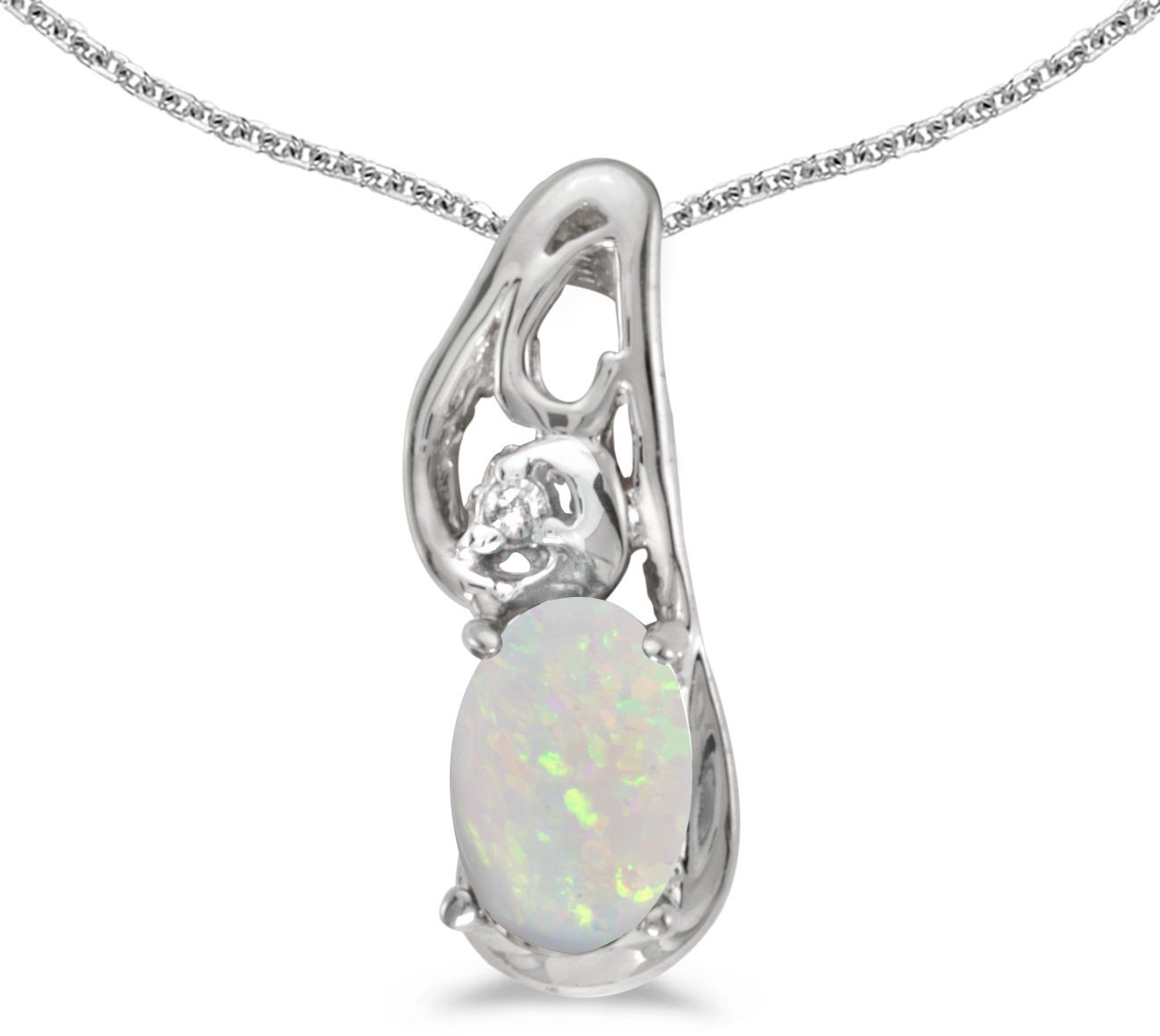 14k White Gold Oval Opal And Diamond Pendant (Chain NOT included) (CM-P2590XW-10)