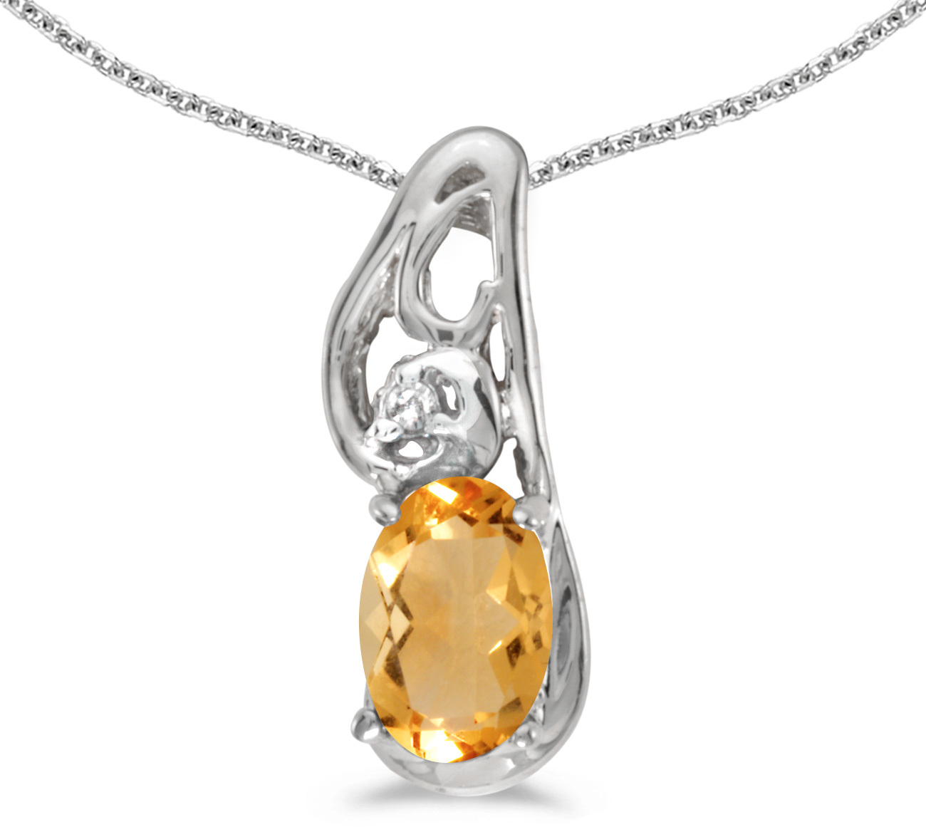 14k White Gold Oval Citrine And Diamond Pendant (Chain NOT included) (CM-P2590XW-11)