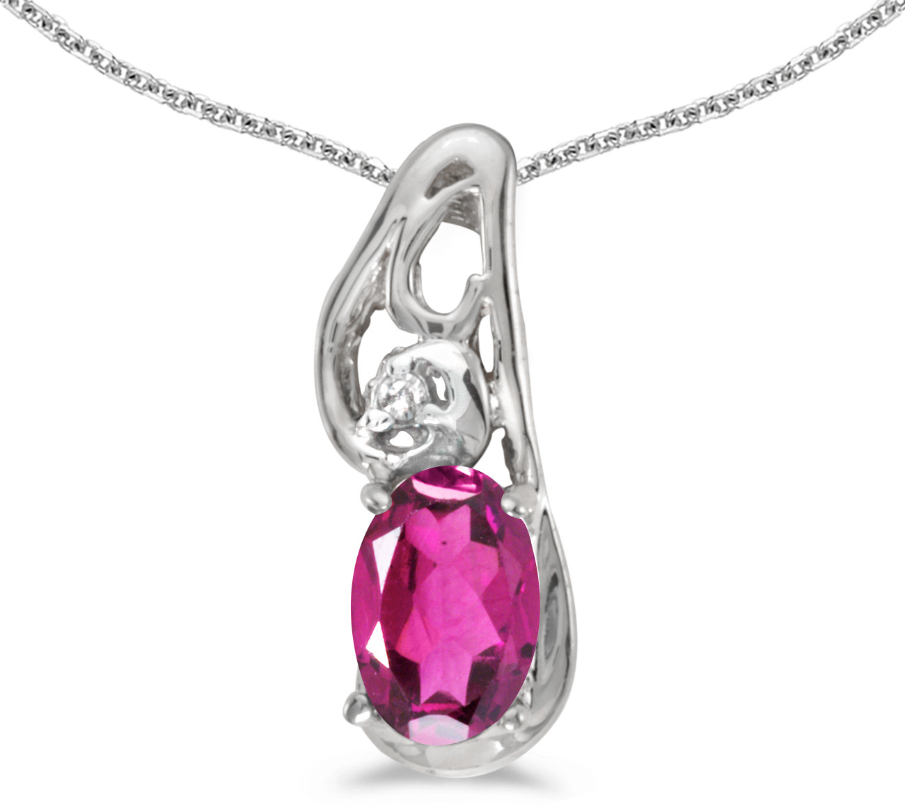 14k White Gold Oval Pink Topaz And Diamond Pendant (Chain NOT included) (CM-P2590XW-PT)