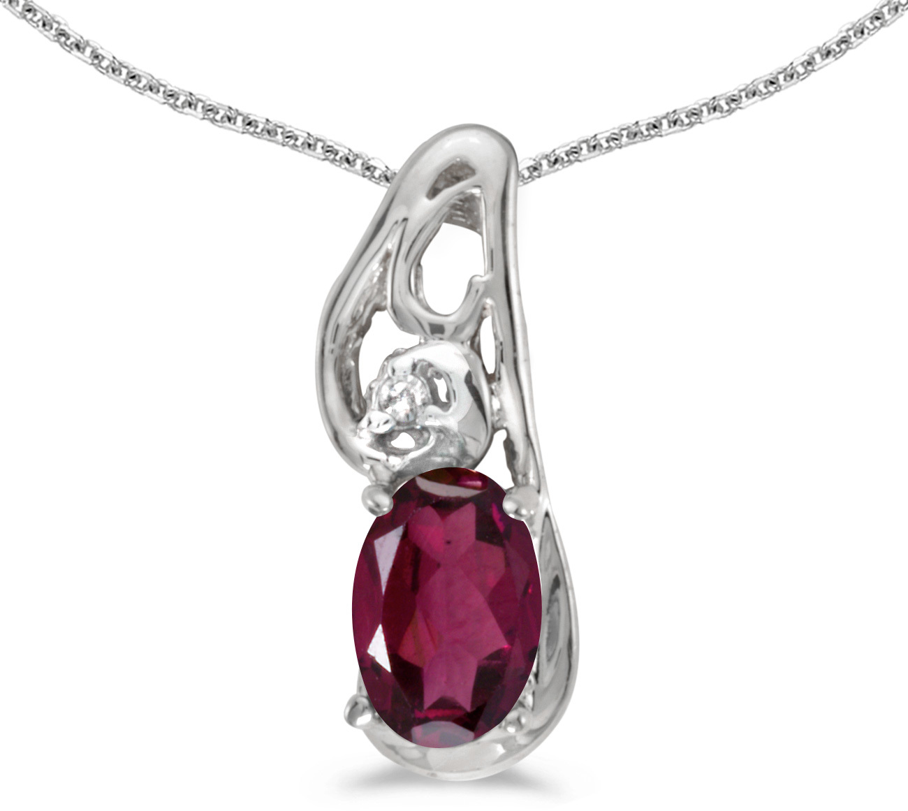 14k White Gold Oval Rhodolite Garnet And Diamond Pendant (Chain NOT included) (CM-P2590XW-RG)