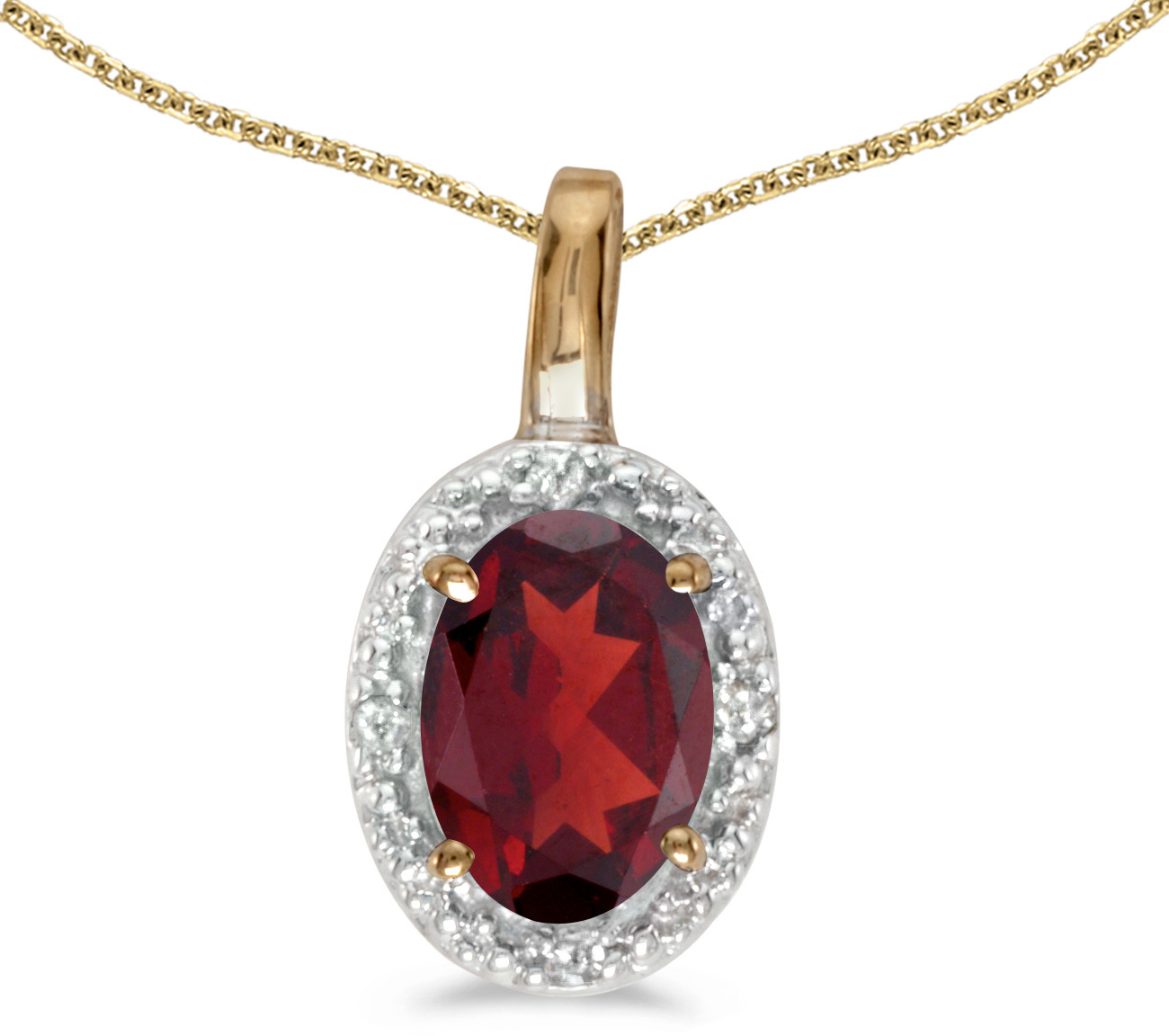 14k Yellow Gold Oval Garnet And Diamond Pendant (Chain NOT included) (CM-P2615X-01)